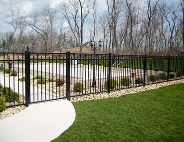 residential fence around pool
