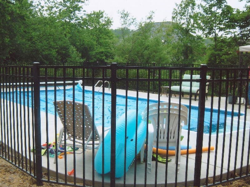 security fence around pool